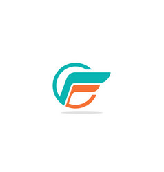 f initial wing logo vector image