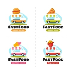 fast food truck logo collection pizza vector image