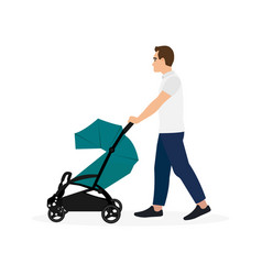 Father walking with baby stroller isolated vector