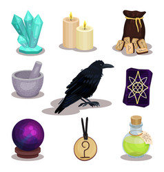 Flat set icons related to divination vector