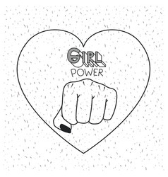 Girl power poster text and fist symbol in heart vector