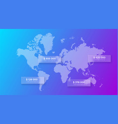 Glassmorphism world map concept frosted glass vector