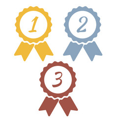 Gold silver bronze medals with 1st 2nd 3rd labels vector