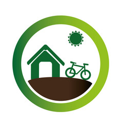 green circular emblem with eco farm vector image