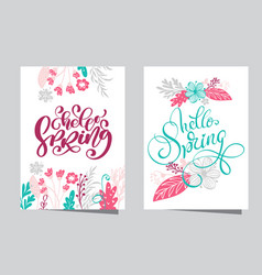 hand drawn lettering hello spring with frame of vector image