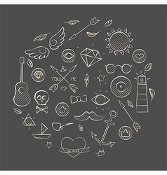Hand drawn set of hipster elements over brown vector