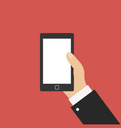 hand with smartphone icon in flat design isolated vector image