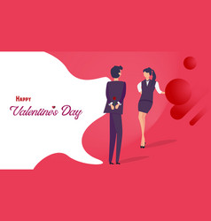 happy valentines day flat design man giving rose vector image