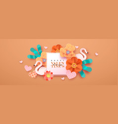 happy valentines day floral greeting card in vector image