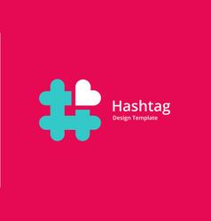 hashtag symbol heart logo icon design template vector image