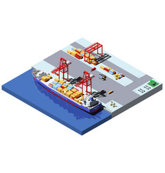 Isometric cargo port with two cranes vector