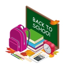 Isometric concept back to school background vector