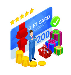 isometric gift voucher and online shopping app vector image