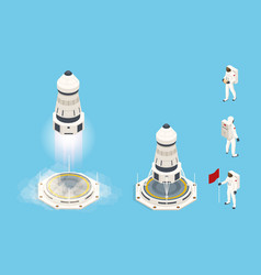 Isometric set elements space rocket or shuttle vector