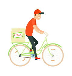 italian pizza delivery icon with courier man vector image