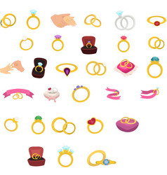 jewelry accessories icons set gold diamond pearl vector image
