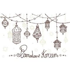 Lantern garland of Ramadan KareemDoodle greeting vector image