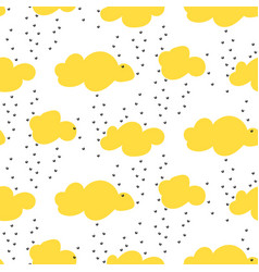 Light yellow snowy clouds seamless pattern vector