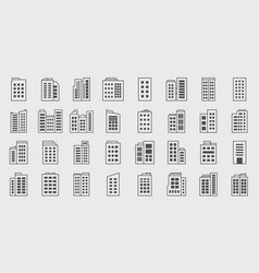 line icons building company set vector image