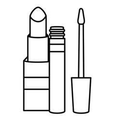 Lipstick and eyelash make up drawing icon vector