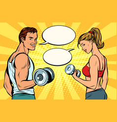 Man and woman with dumbbells comic strip dialogue vector