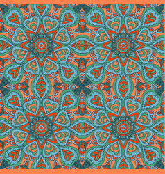 Mandala doodle drawing colorful seamless ornament vector