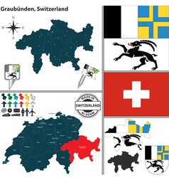 Map of Graubunden vector image