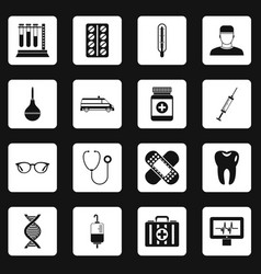 Medicine icons set squares vector