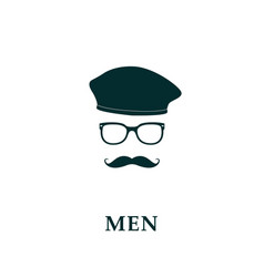 men french beret and mustache icon vector image