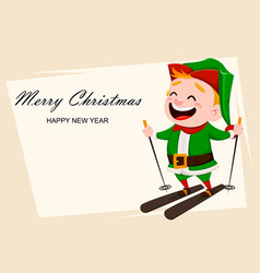 merry christmas funny santa claus helper vector image