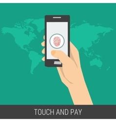 mobile payment using fingerprint vector image