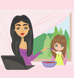 mother and child eating in a hurry vector image