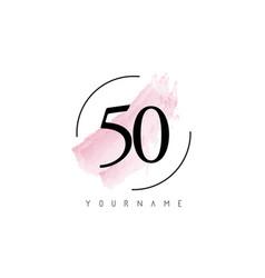 Number 50 watercolor stroke logo design vector