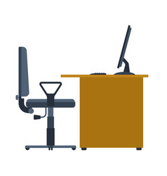 Office workplace table and computer working on vector