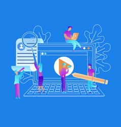 people streaming online video e-learning process vector image