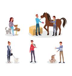pet owners flat set cartoon vector image