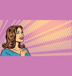 pop art woman profile vector image