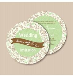 round invitation green vector image