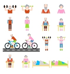 Senior lifestyle flat icons set vector image