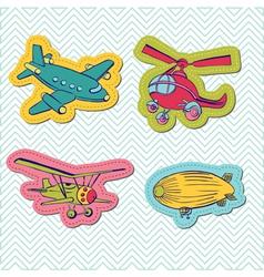 Set baboy plane stickers vector