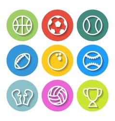 set flat sports icons vector image