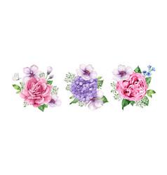 set flower bouquets apple tree flower vector image