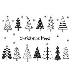 set isolated silhouettes christmas trees vector image