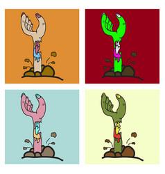 Set of cartoon zombie hand clip art vector
