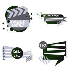Set of trendy flat geometric elements banners in vector