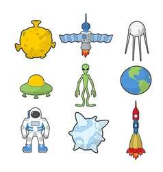 Set Space icons Spacecraft and rocket UFO vector image