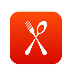 spoon and fork icon digital red vector image