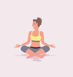 Sportswoman doing fitness yoga exercises in gym vector