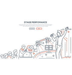 stage performance linear landing page vector image