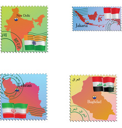 Stamp with an image of map capital India Indonesia vector